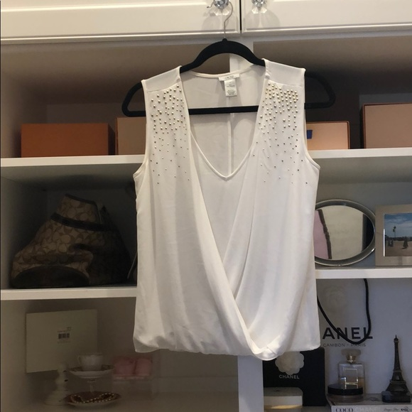 Cache Tops - White blouse with gold studs